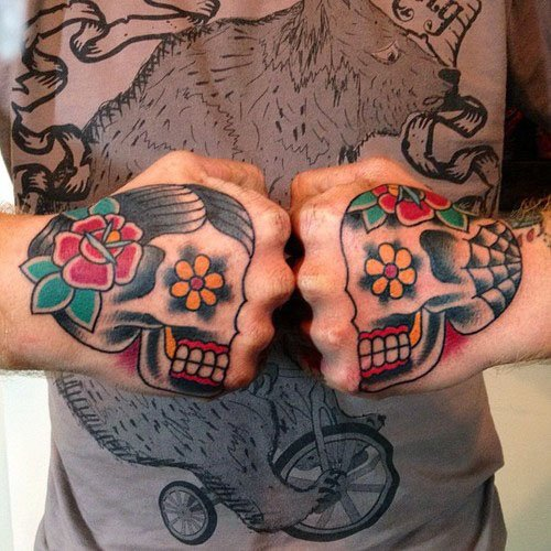 Traditional Two Skulls Tattoo On Both Hand
