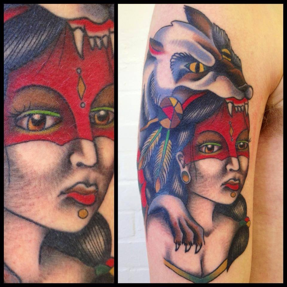 Traditional Wolf Head Women Tattoo On Right Half Sleeve