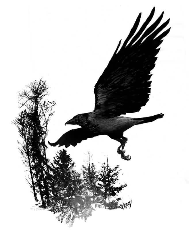 Flying crow tattoos - photo#24