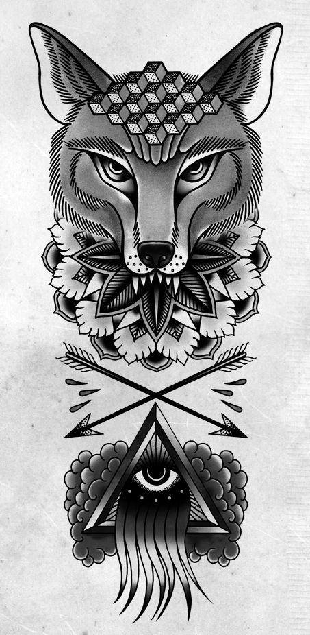 Triangle Eye And Mandala Wolf Tattoo Design