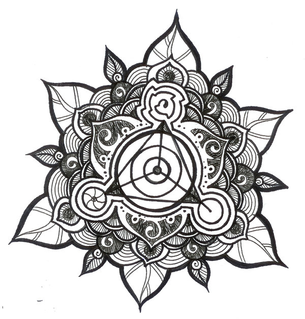 Triangle In Mandala Flower Tattoo Design