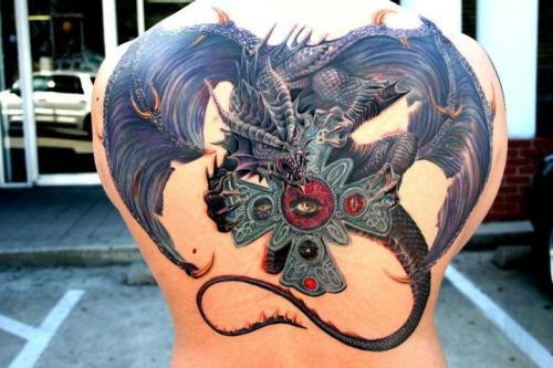 Unique 3D Dragon With Cross Tattoo On Upper Back