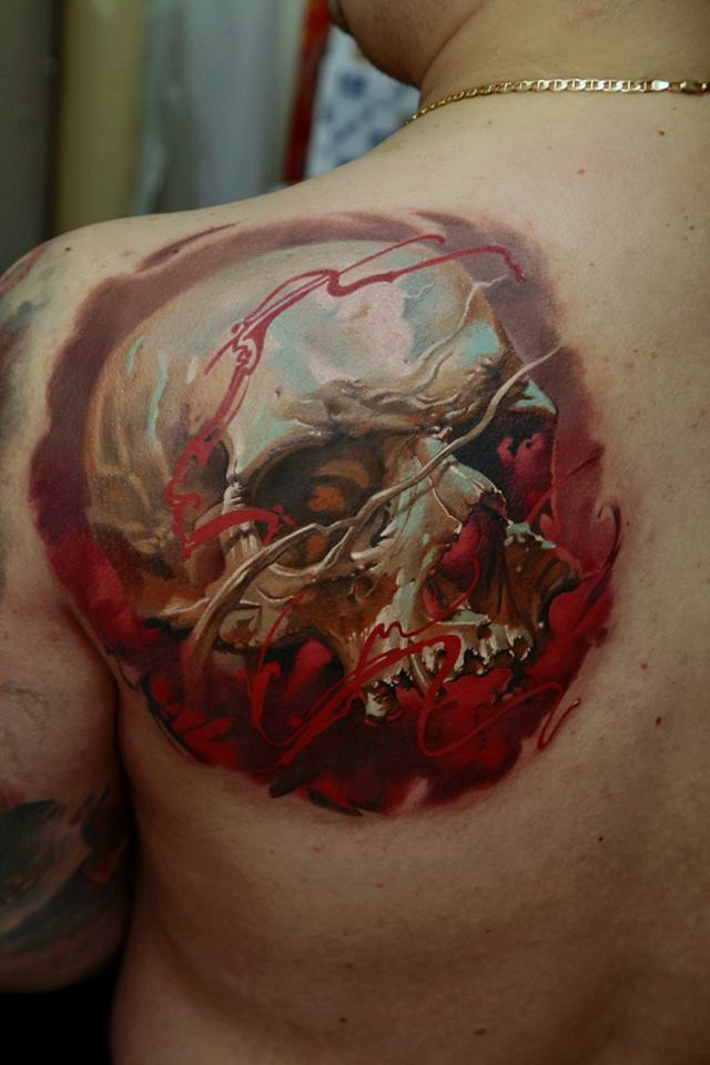 Unique 3D Skull Tattoo On Left Back Shoulder By Dmitriy Samohin