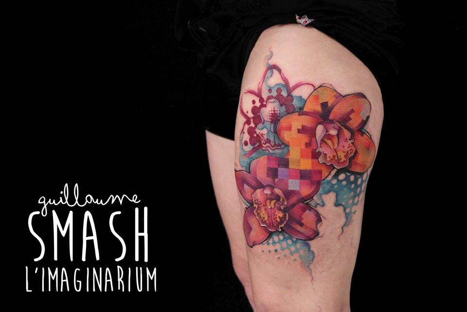 Unique Abstract Flowers Tattoo On Left Thigh