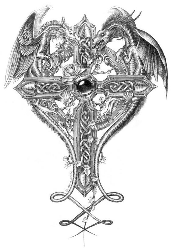 Unique Black And Grey Cross With Two Dragons Tattoo Design