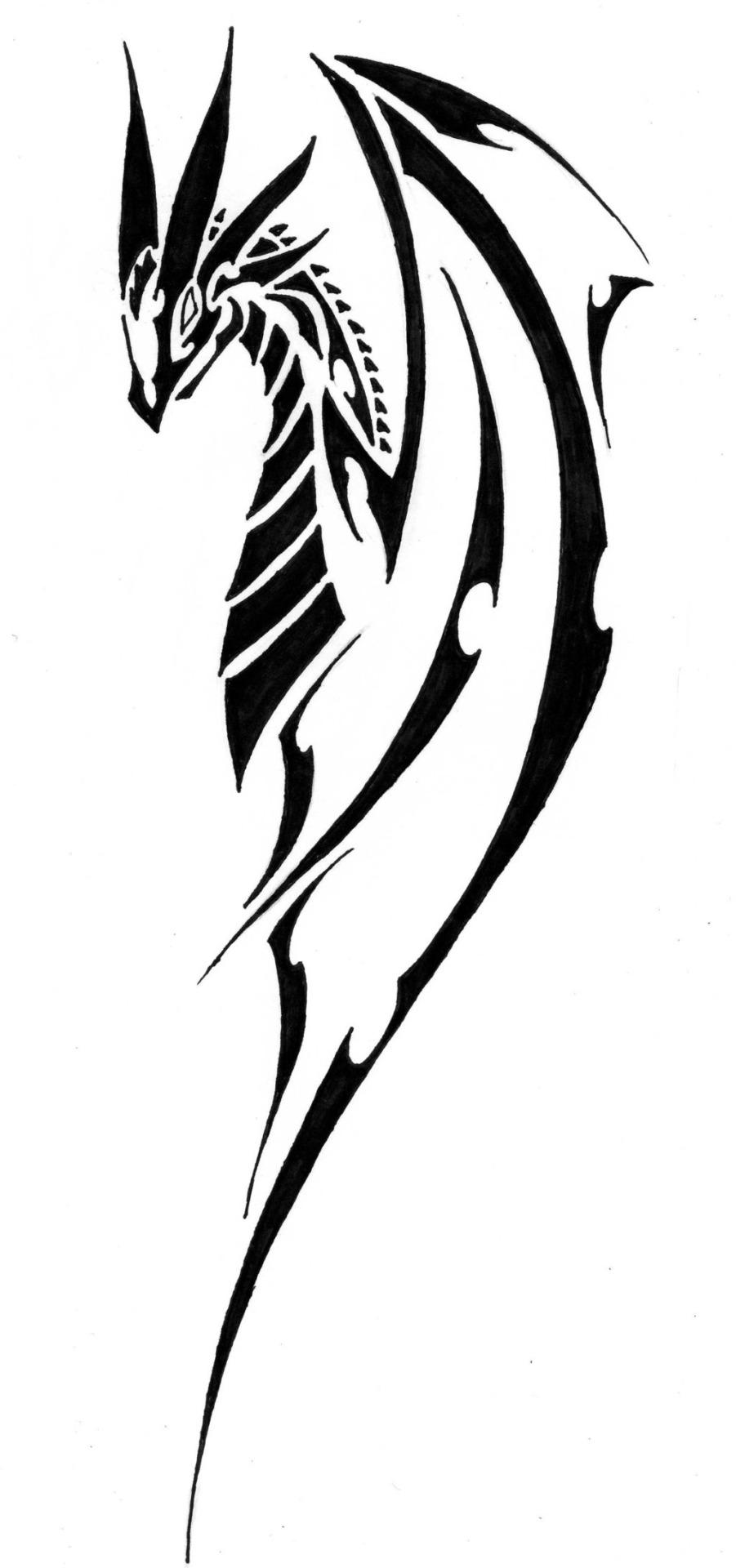 Unique Black Tribal Dragon Tattoo Stencil