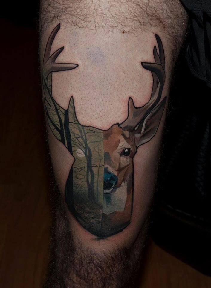 Unique Deer Tattoo On Half Sleeve