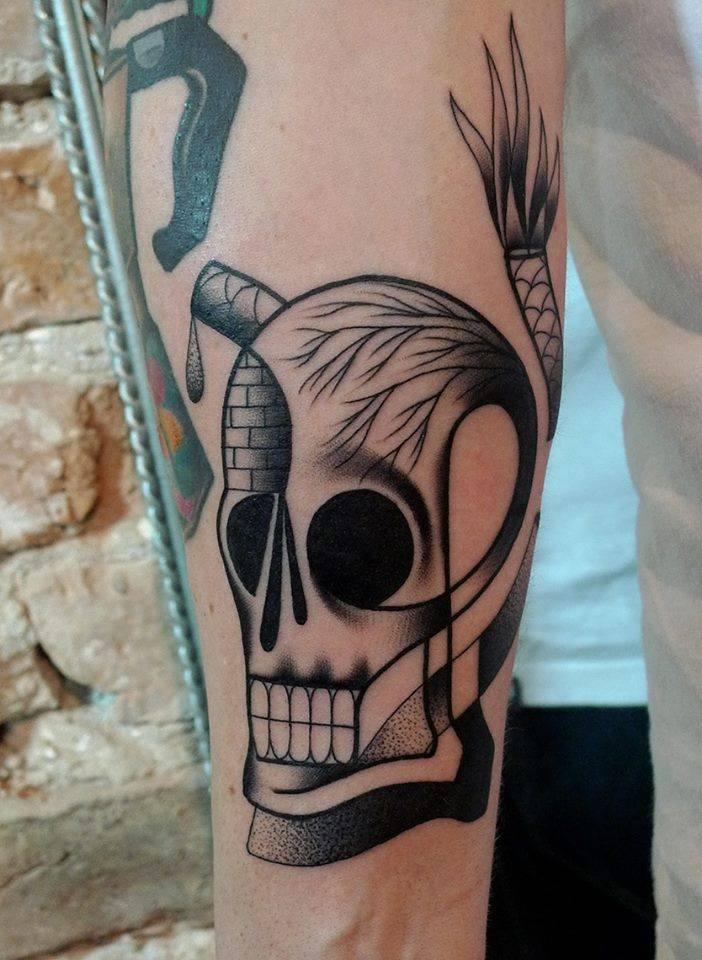Unique Dotwork Skull Tattoo On Left Half Sleeve