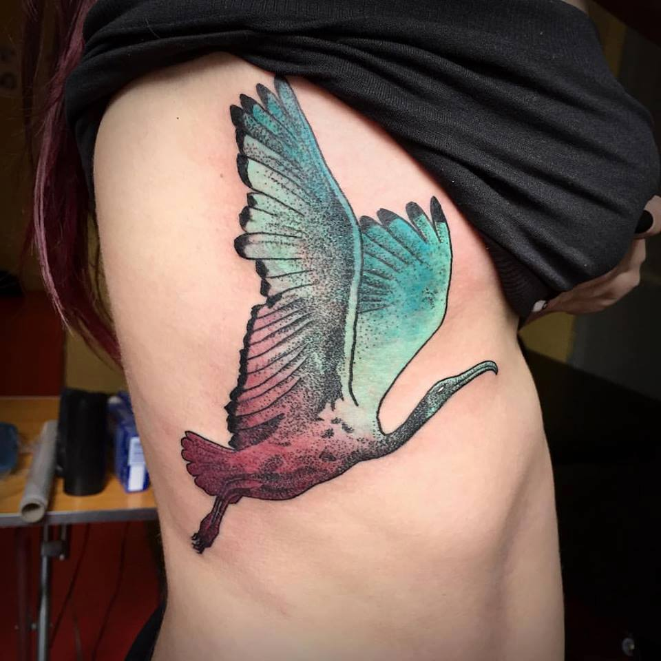 Unique Flying Bird Tattoo On Right Side Rib