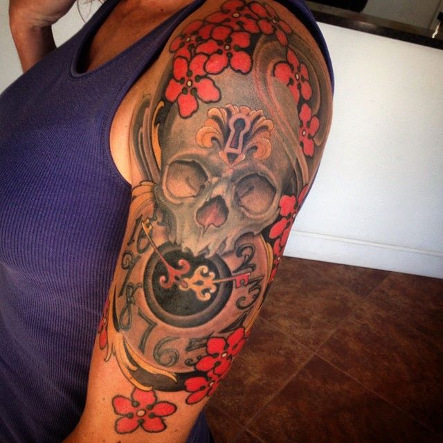 Jeff norton tattoos for Clock tattoo half sleeve