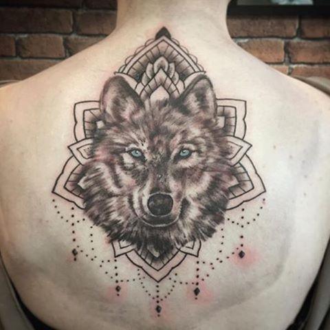 aba304256 Upper Back Grey Ink Mandala Wolf Tattoo