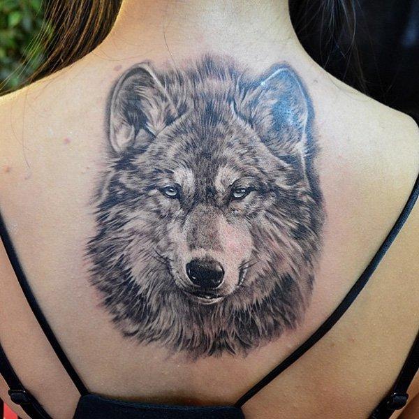 Upper Back Grey Ink Wolf Tattoo