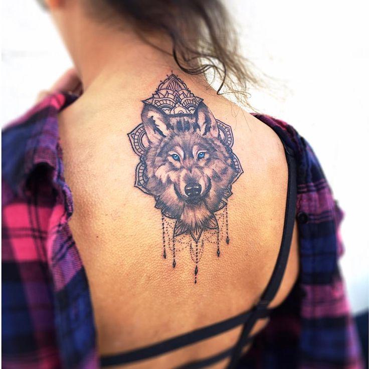 upper back mandala wolf head tattoo for girls. Black Bedroom Furniture Sets. Home Design Ideas
