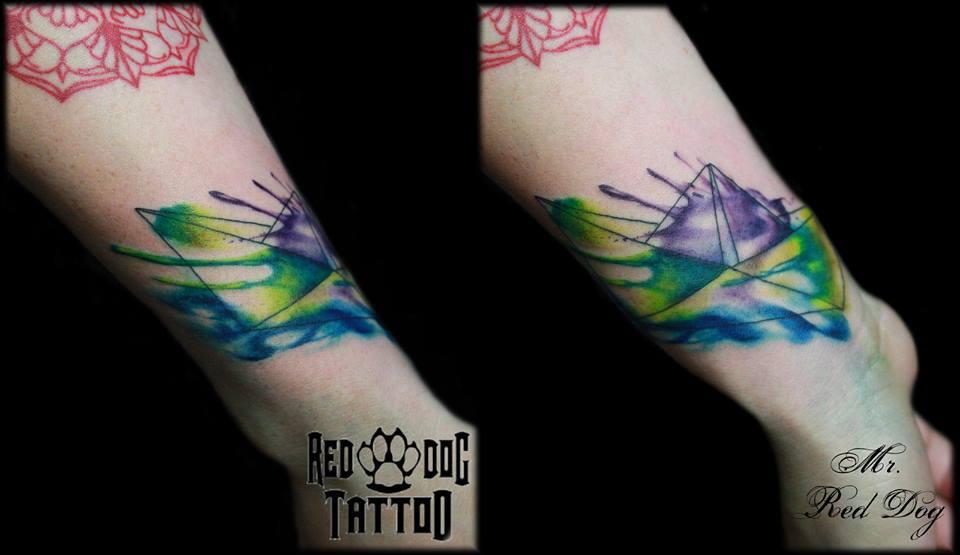 Watercolor Boat Tattoo On Wrist