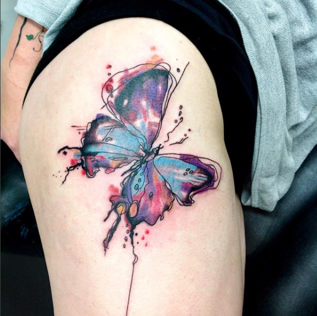 watercolor tattoo butterfly - 630×633