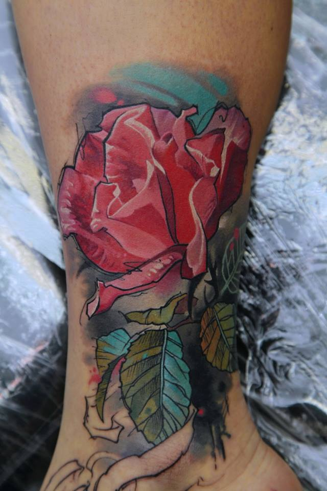 Watercolor Flower Tattoo On Right Leg