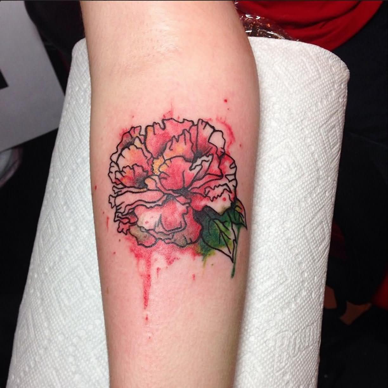 Watercolor Peony Flower Tattoo On Forearm