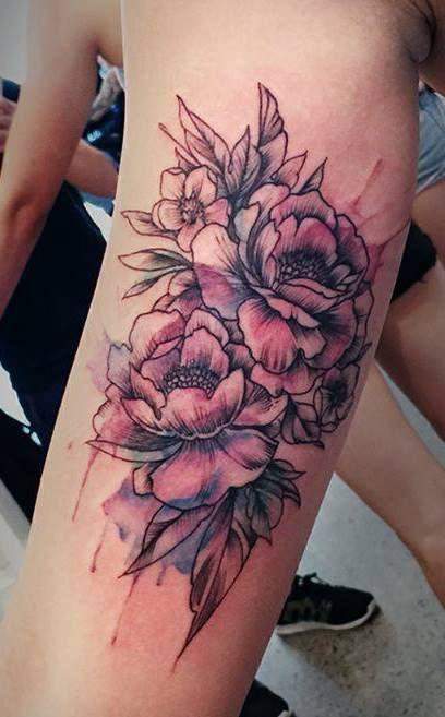 30b4532b7 Watercolor Peony Flowers Tattoo Design For Sleeve