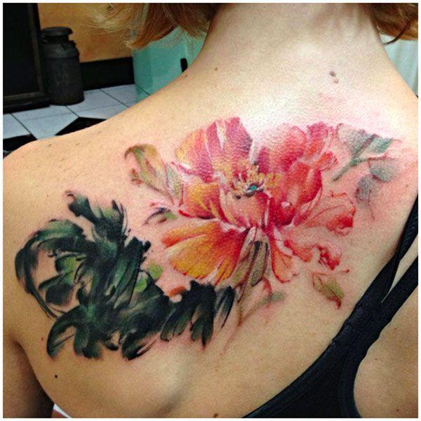Watercolor Peony Flowers Tattoo On Women Upper Back