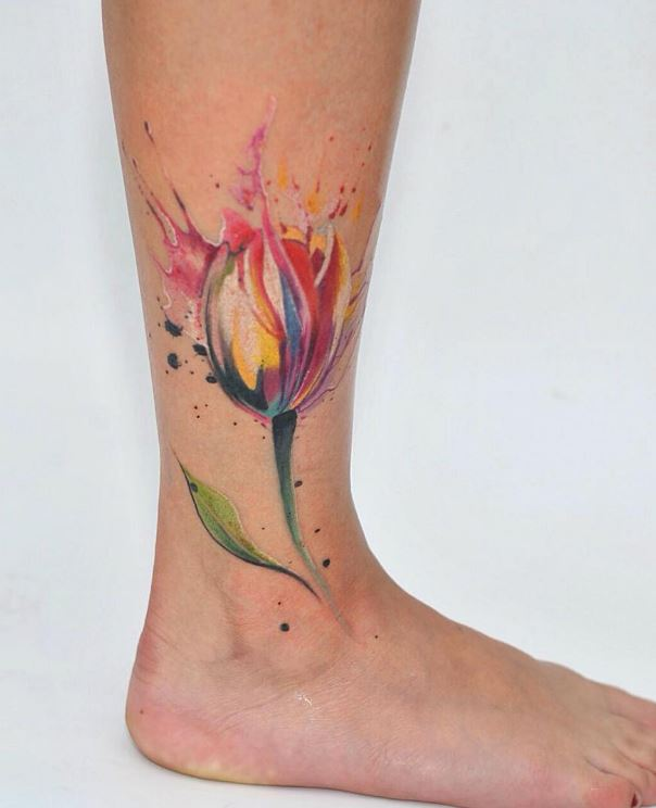 32 best tulip flowers tattoos for Floral watercolor tattoo
