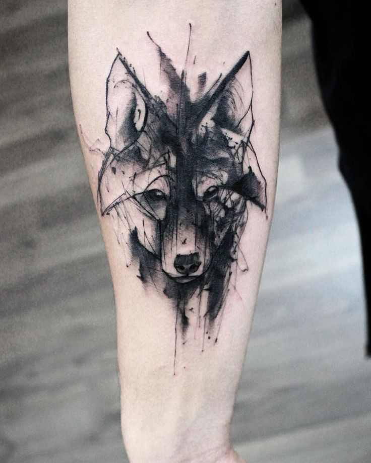 watercolor wolf head tattoo on forearm. Black Bedroom Furniture Sets. Home Design Ideas