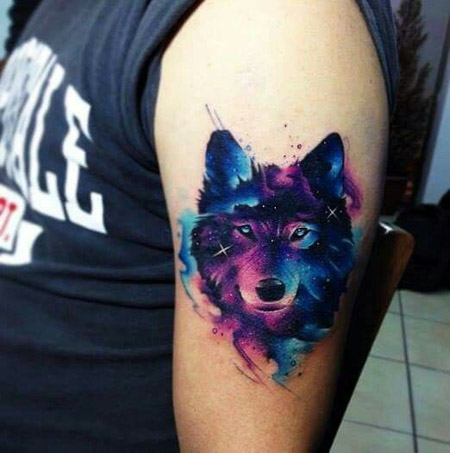Watercolor Wolf Head Tattoo On Left Bicep