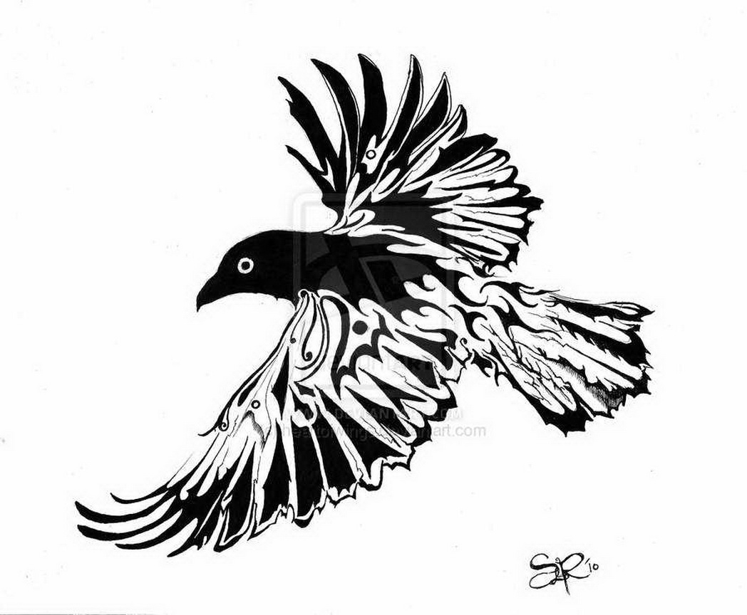 white and black open wings crow tattoo design. Black Bedroom Furniture Sets. Home Design Ideas