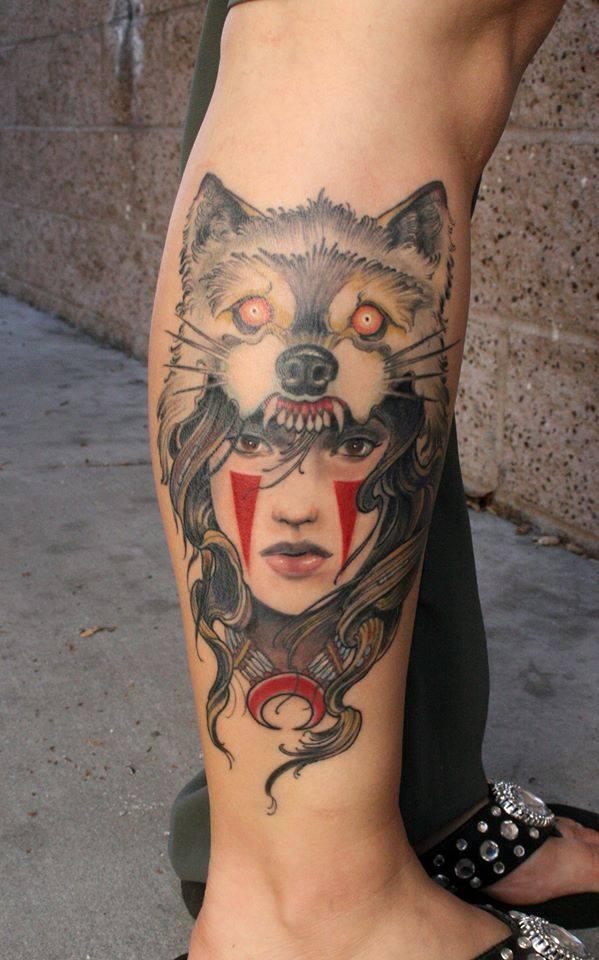 Wolf Head Girl Face Tattoo On Right Leg Calf