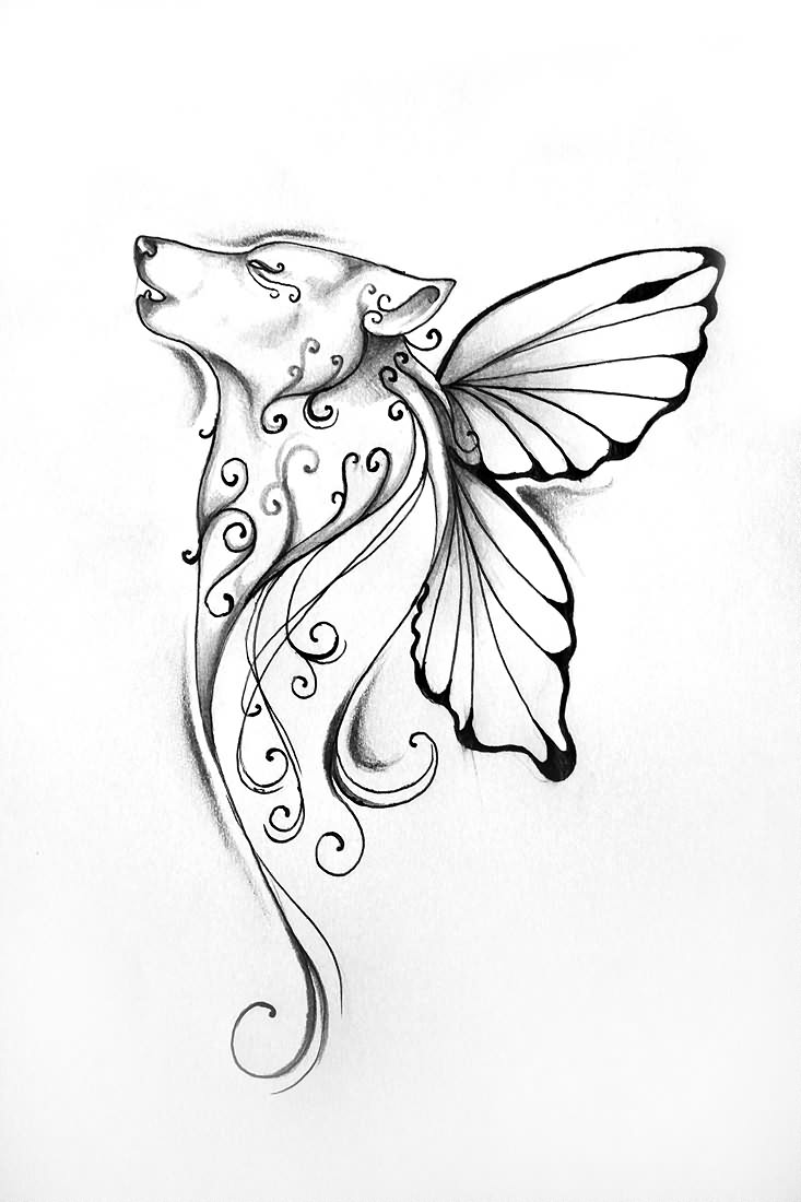 Wolf Head With Butterfly Wings Tattoo Design