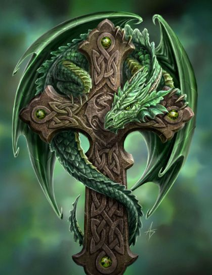Wonderful 3D Dragon With Celtic Cross Tattoo Design