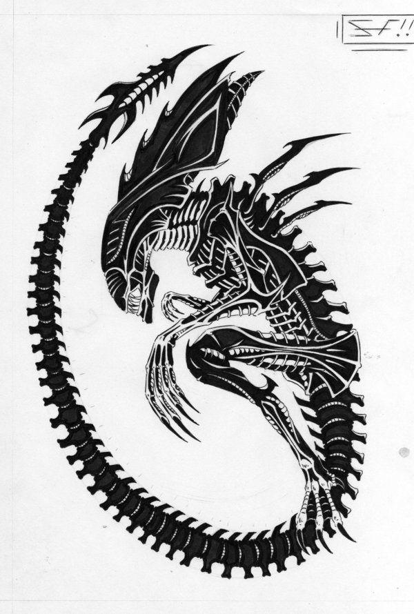 Wonderful Black Alien Tattoo Stencil