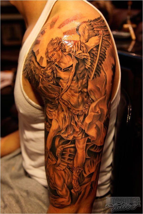 fa09b3096 Wonderful Black And Grey Archangel Michael Tattoo On Man Left Half Sleeve