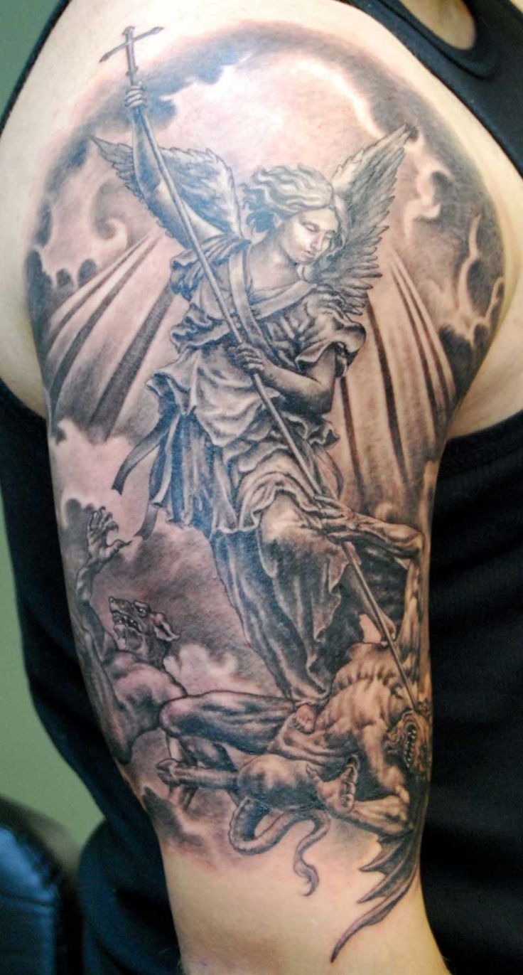 6288783ea Wonderful Black And Grey Archangel Michael Tattoo On Right Half Sleeve