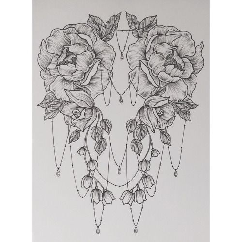 Wonderful Black And White Peony Flowers Tattoo Design