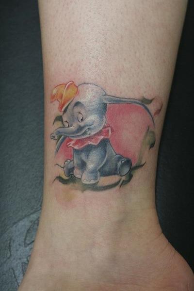 Wonderful Dumbo Tattoo On Left Ankle