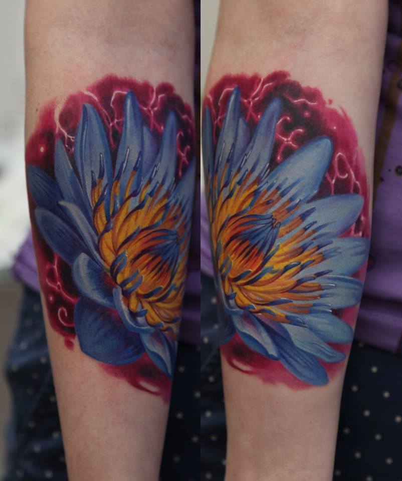 Wonderful Flower Tattoo Design For Sleeve