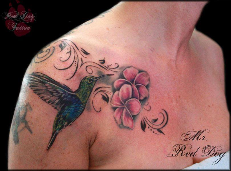 Wonderful Flying Bird With Flowers Tattoo On Right Front Shoulder