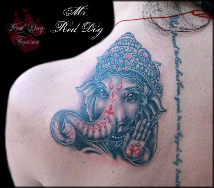 Wonderful Lord Ganesha Head Tattoo On Left Back Shoulder