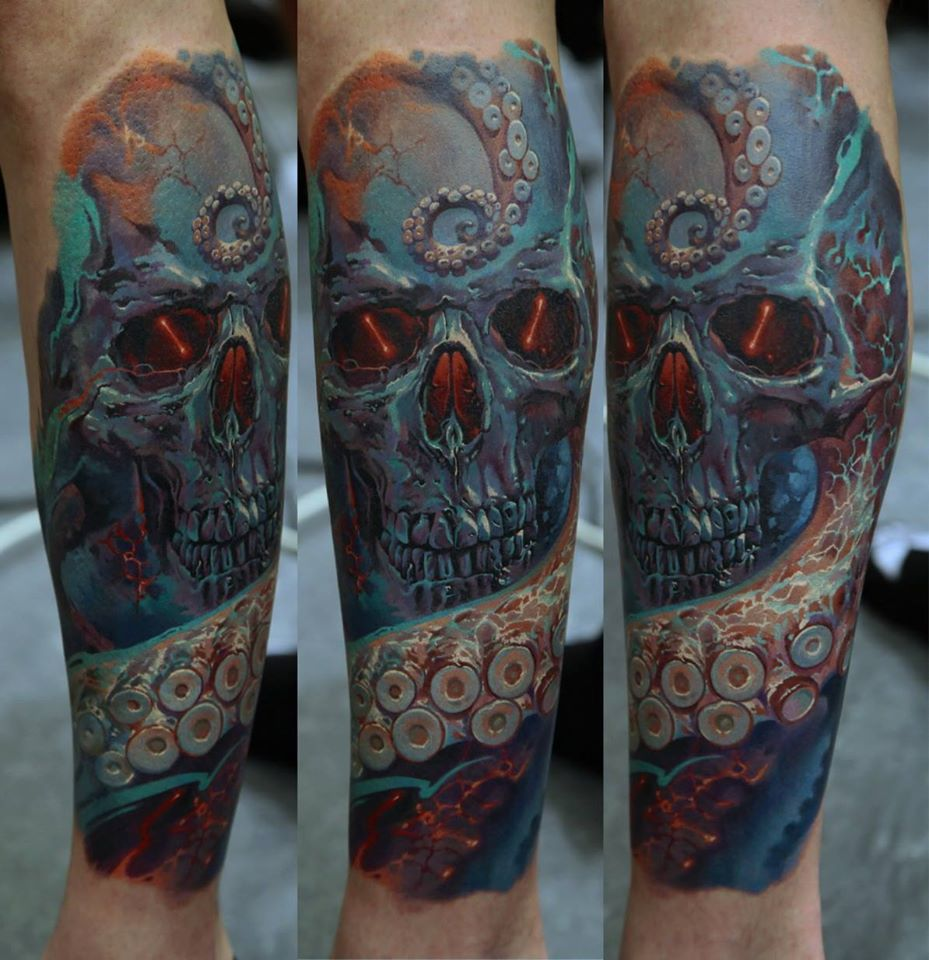 Wonderful Octopus With Skull Tattoo On Forearm By Dmitriy Samohin