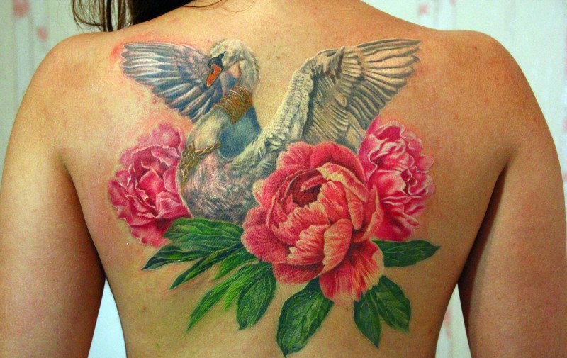 Wonderful Swan With Peony Flowers Tattoo On Women Upper Back