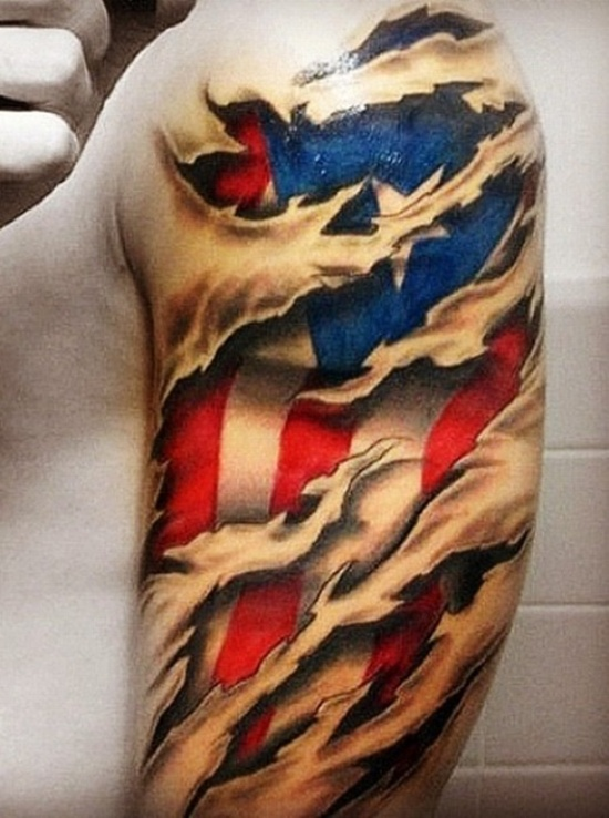 2ca4e6adbcded 3D Ripped Skin America Flag Tattoo On Left Half Sleeve