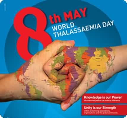 8th may world thalassaemia day world map on hands gumiabroncs Images