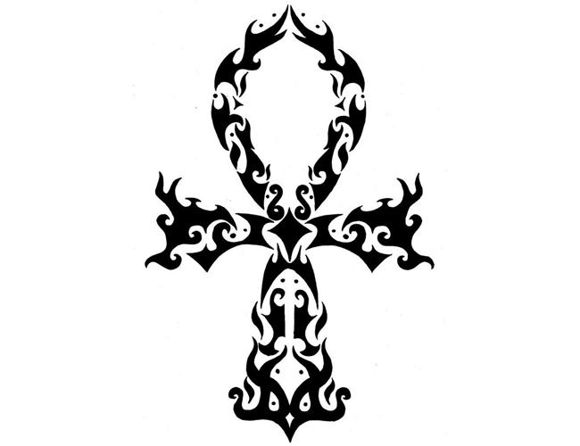 da8976d0c Amazing Black Tribal Ankh Tattoo Stencil
