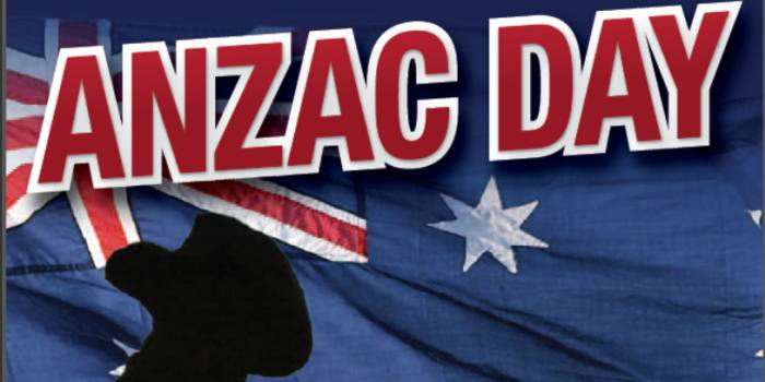 Anzac Day Flag In Background