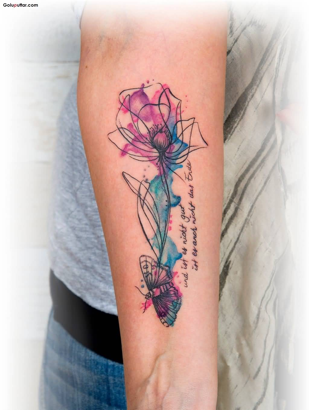 60 best aqua tattoos design and ideas for Forearm flower tattoos
