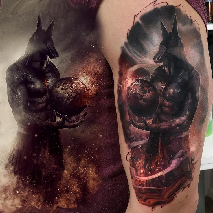 Attractive Anubis Tattoo On Half Sleeve