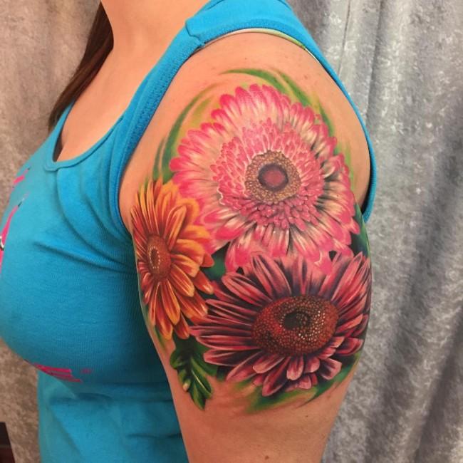 50 latest daisy tattoos ideas rh askideas com gerbera daisy tattoo pinterest gerbera daisy tattoo black and white