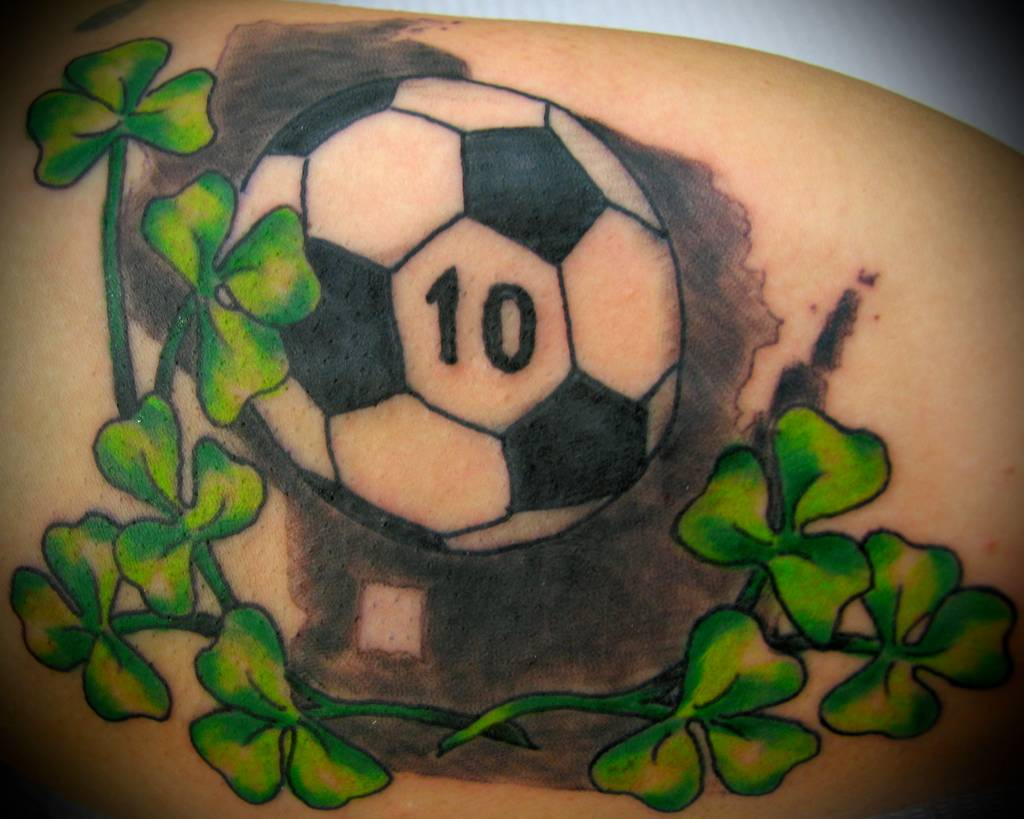 Attractive Football Tattoo On Right Back Shoulder