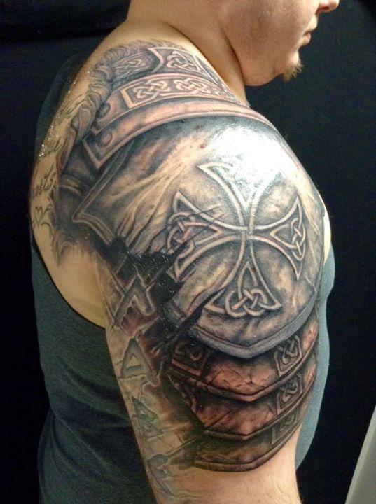 awesome black ink armor tattoo on man right shoulder. Black Bedroom Furniture Sets. Home Design Ideas