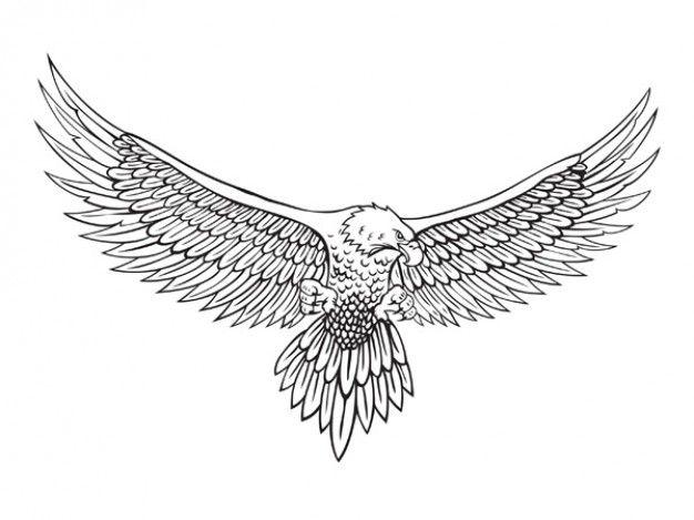 awesome black ink flying eagle tattoo design